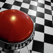 Red Cushion Stool Above Chequered Floor Poster by Peter Young