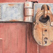 Red Door And Old Lock Poster
