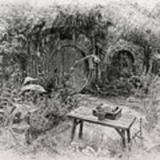 Red Door Hobbit Illustration Drawing By Kathy Kelly