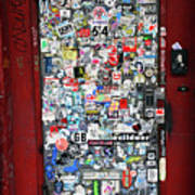 Red Doorway With Stickers Poster