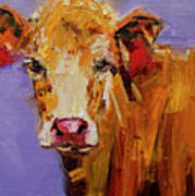 Red Earring Cow Poster