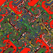 Red Five Wave Abstract Poster