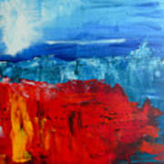Red Flowers Blue Mountains - Abstract Landscape Poster