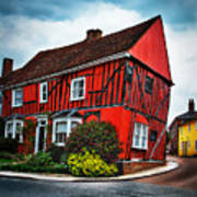 Red Frame House In Lavenham, England. Poster