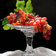 Red Grapes On Glass Dish Poster
