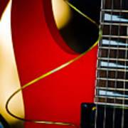Red Guitar Poster by Hakon Soreide