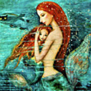 Red Hair Mermaid Mother And Child Poster