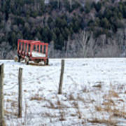 Red Hay Wagon Poster