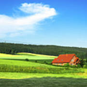 Red House In Field - Amshausen, Germany Poster
