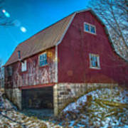 Red Indiana Barn Poster
