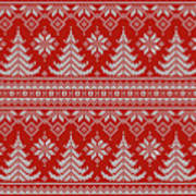 Red Knitted Winter Sweater Poster