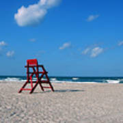 Red Life Guard Chair Poster