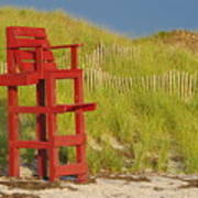 Red Lifeguard Seat Poster