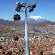 Red Line Cable Cars And Mt Illimani La Paz Bolivia Poster
