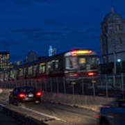 Red Line Train Rumbling Over The Longfellow Bridge In Boston Ma Poster