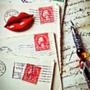 Red Lips Pin And Old Letters Poster