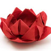 Red Lotus Origami Poster