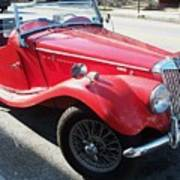 Red Mg Antique Car Poster