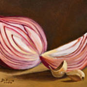 Red Onion Still Life Poster