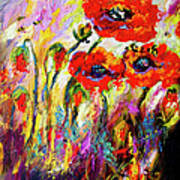 Red Poppies And Bees Provence Dreams Poster