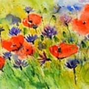 Red Poppies And Cornflowers Poster