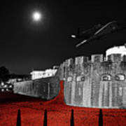 Red Poppies At Tower Of London With Spitfire Flypast Poster