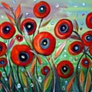 Red Poppies In Grass Poster
