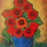 Red Poppies In Blue Vase Poster
