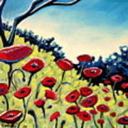 Red Poppies Under A Blue Sky Poster