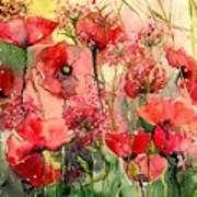 Red Poppies Wearing Pink Poster