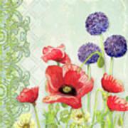 Red Poppy Purple Allium IIi - Retro Modern Patterns Poster