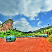 Red Rocks Hippie Van Poster
