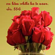 Red Rosed In Vase Is.55 V 6 Poster