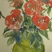 Red Roses In A Green Vase Poster
