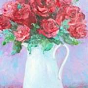 Red Roses In White Jug Poster by Jan Matson
