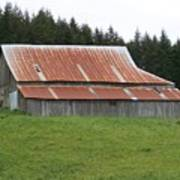 Red Rusty Tin Roofed Old Barn Washington State Poster