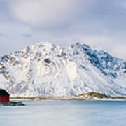Red Shack On Fjord - Panorama Poster