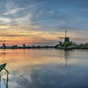 Red Skies Over Kinderdijk Poster