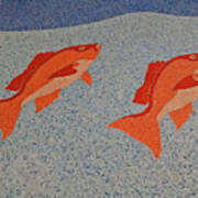 Red Snapper Inlay On Alabama Welcome Center Floor Poster