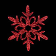 Red Snowflake Ornament Poster
