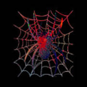 Red Spider On Black Poster