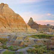 Red Sunrise On The Hills Of Badlands Poster