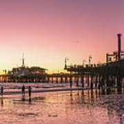 Red Sunset In Santa Monica Poster