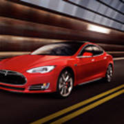 Red Tesla Model S Red Luxury Electric Car Speeding In A Tunnel Poster