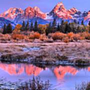 Red Tip Teton Reflection Panorama Poster