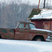 Red Truck In The Snow Poster