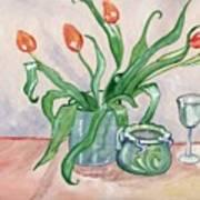 Red tulips still life Poster