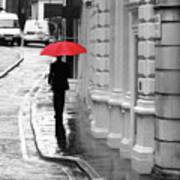 Red Umbrella In London Poster