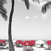 Red Umbrellas On Waikiki Beach Hawaii Poster