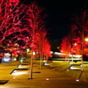 Red Urban Trees Poster
